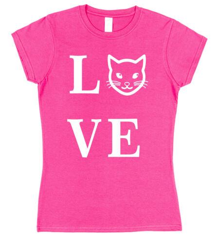 LOVE CAT LADIES FITTED STYLE T-SHIRT Pet Christmas Present Gift Mum Kitten