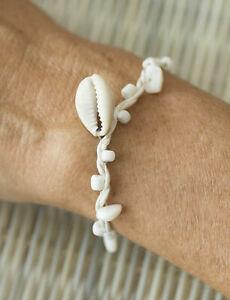 Bracelet amitié fil coton blanc crème perles cauris coquillage 21214 FS10