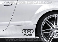 2x Audi Logo Premium Cast Skirt Decals Stickers S-line Quattro Q3 A3 A4 A5 A6 RS