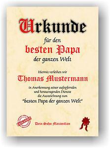 GESCHENK PAPA Geschenikdee Urkunde bester Papa Vater der ganzen Welt