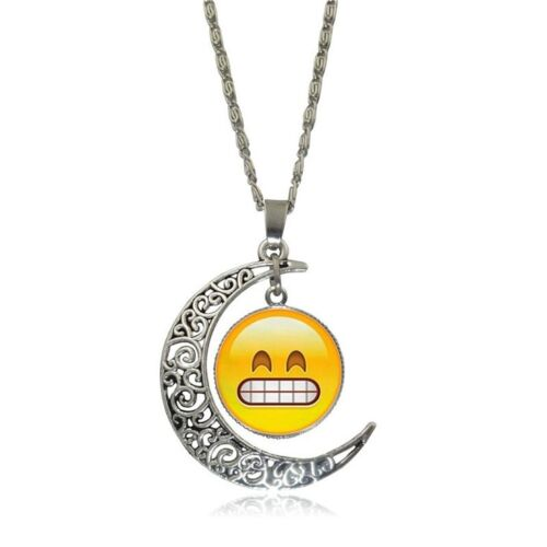 Fashion Funny EMOJI Smile Emoticon Pendant Necklace Moon Charms For Girl