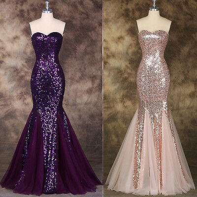 Sequined Mermaid Wedding Bridesmaid Prom Dress Formal Long Evening Ball Gown.