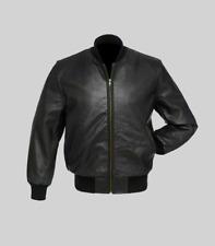 Men's 100% Real Leather Black Bomber Style Jackets 100% Genuine Lambskin Jackets