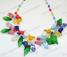 BIRDS&LEAVES blossom MULTI murano GLASS BEAD NECKLACE vintage BLUE,RED bird&leaf