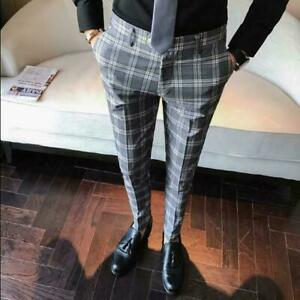 Mens-Casual-Plaid-Slim-Fit-Trousers-Formal-British-Pants-Cropped-Suit-Trousers