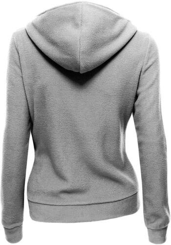 Women Ladies Casual Oblique Zipper Fleece Hoodie Sweatshirt Biker Hooded Jacket