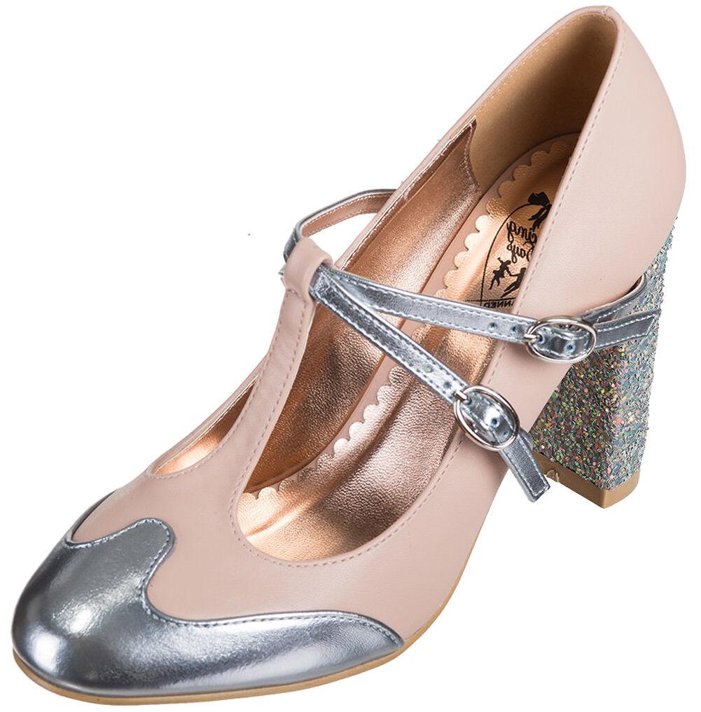 Dancing Days GLITTER MODERN LOVE Vintage Glam GLITTER Days T-Strap PUMPS Rosa Rockabilly 512dec