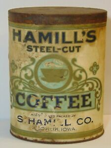 Rare-Old-Vintage-1920s-HAMILL-COFFEE-GRAPHIC-ONE-POUND-COFFEE-TIN-KEOKUK-IOWA