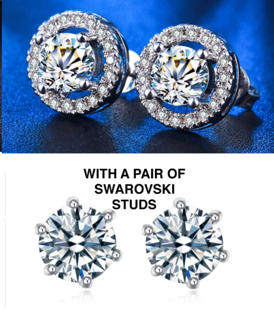 6mm 2 Carat Total 925 Sterling Silver Cubic Zirconia Stud Earrings With Accents