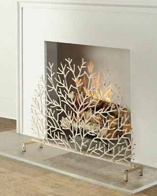 New Designer Horchow Single Panel Coastal Coral Twig White Fireplace Screen Ebay