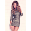 Abyss-By-Abby-Gold-Sequins-Low-Back-3-4-Sleeve-Bodycon-Roxy-Dress-Women-039-s-Size-L