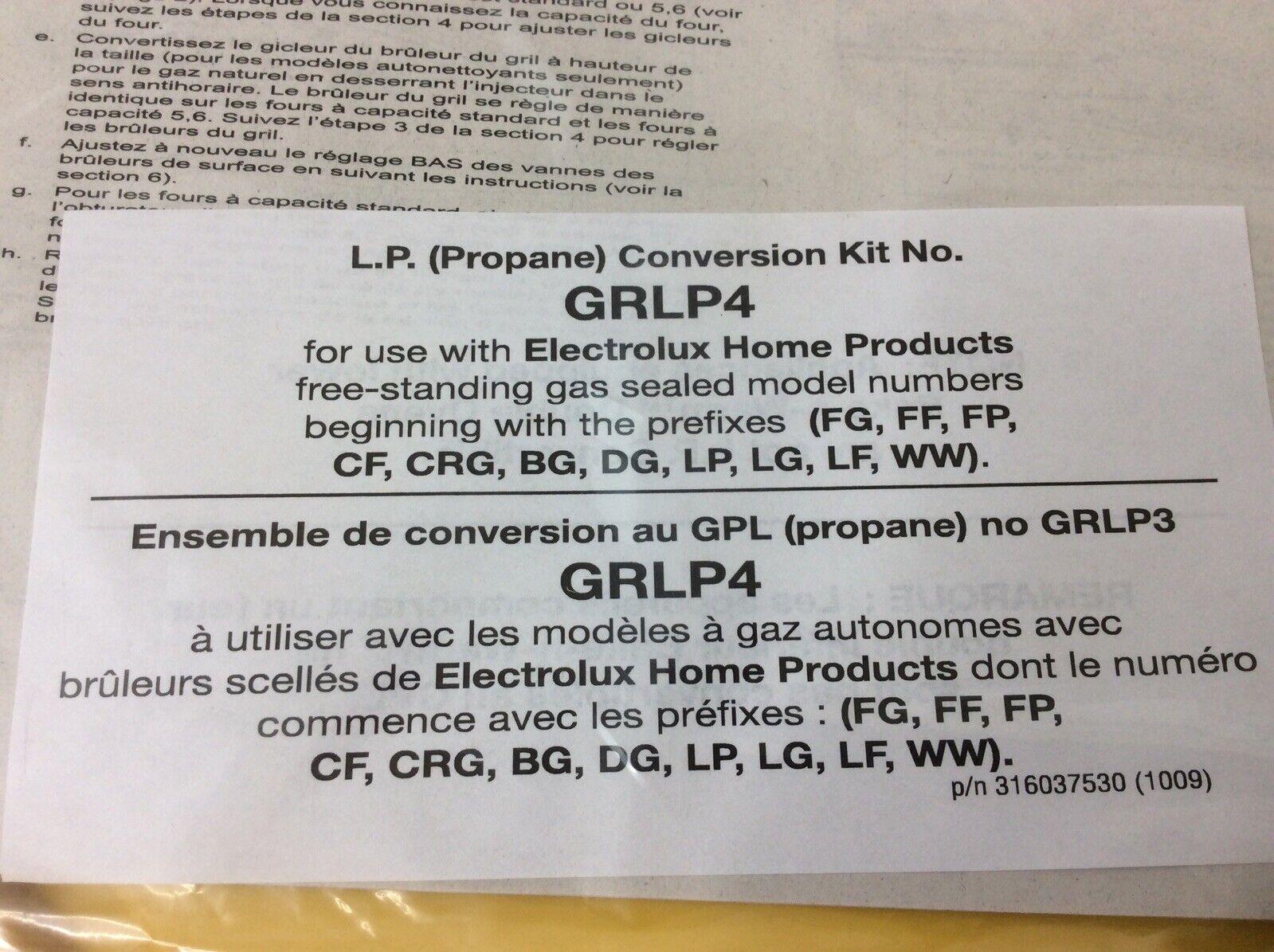 Frigidaire Electrolux Gas Range LP Conversion Kit GRLP4 New
