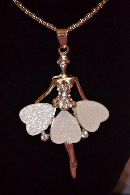 Betsey Johnson Crystal Ballet Heart Dress Pendant Long Chain Necklace -BJ29