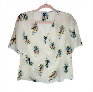 Madewell-Cream-Blue-Floral-Top-100-Silk-Shirred-Front-Short-Sleeve-V-Neck-Sz-M