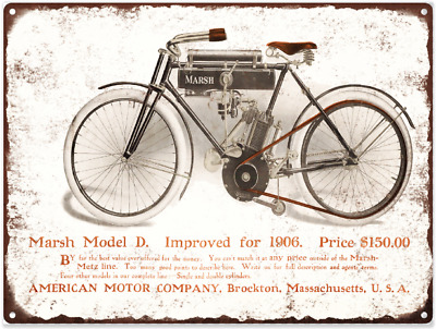 "1906 Marsh Motorcycle Bike Model D Metal Sign Ad Repro 9x12/"" 60256"