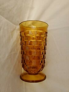 7-Vintage-Whitehall-By-Colony-Amber-Cubist-6-034-T-12-oz-Flair-Rim-Footed-Glasses