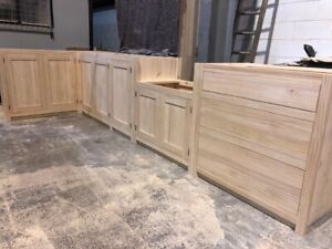 Bespoke Solid Wood Country Kitchen Cabinets Unfinished Knot Free Wood Ebay