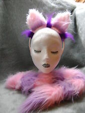 The Cheshire Cat Fancy Dress Ears & Tail Light Pink & Lilac Alice In Wonderland