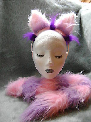 Cheshire Cat Fancy Dress Ears & Tail Light Pink & Lilac Alice In Wonderland