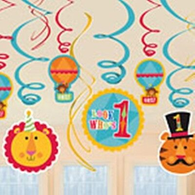 Fisher Price Circus - 1st Birthday Party - 12 Hanging Swirl Decorations