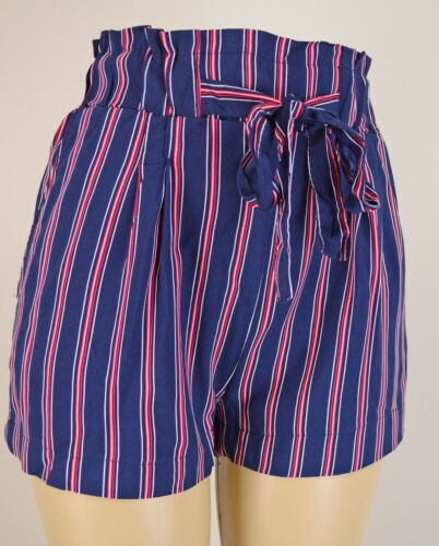 Women/'s High Waist Paperbag Shorts Striped Soft Loose Casual Pockets Belted