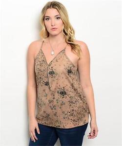 7dec6eb65ea Plus Size Floral Faux Suede Cami Top Shirt Cute Summer Size 1X 2X 3X ...