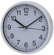 "SILENT SWEEP WALL CLOCK BY UNITY RADCLIFFE CLOCK IN WHITE 8"" 20CM OFFICE HOME"