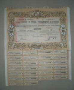 CHEMINS DE FER MADRID A CACERES Y A PORTUGAL 1881 OBLIGATION DE 500 F