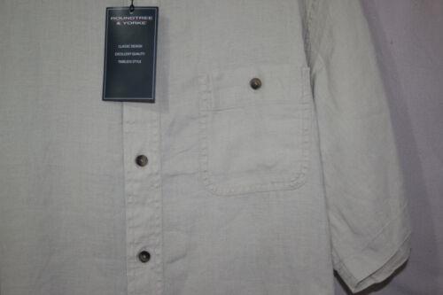 Brown M Roundtree /& Yorke Mens New 100/% LINEN Short Sleeve Button Shirt L XL