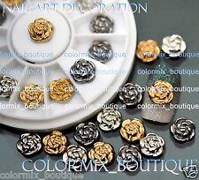 12pcs Nail Art Tips Decoration Rose Jewelry Glitter Rhinestone+Wheel (SET NO.13)
