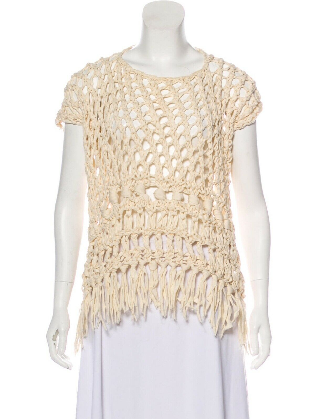 JUNYA WATANABE COMME DES GARÇONS Knot Accent Woven Tunic Top S Cotton Japan Crem