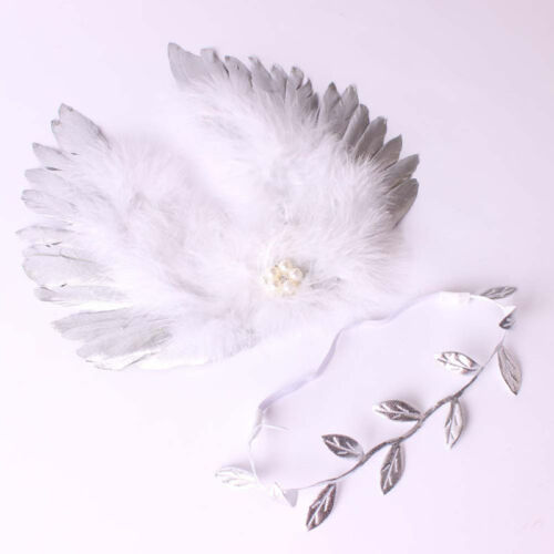 Infant Baby Feather Lace Pearl Flower Leaves Headband /& Angel Wings Photo Props