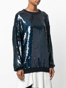 STELLA McCARTNEY Ines navy sequined round neck  sweater - size 40 Italian - top