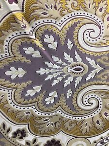 Dark Purple Gold Ivory Damask Brocade Upholstery Fabric 58 In