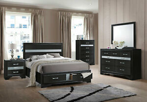 New Modern Black Bedroom Furniture 5pcs King Size Platform Storage Set Iab2 Ebay