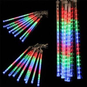 144-LED-Effekt-Leuchtstaebe-Meteorschauer-Lichterkette-Weihnachten-Baum-Deko-NEU