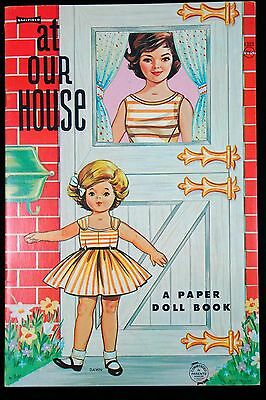Un-Cut Paper Doll Book - At Our House  Moms & Daughters, Saalfield 1960s