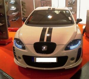 Coppia-fanali-ant-led-daylight-Seat-leon-1P-pre-restyling-05-gt-2009-cromati-diurne