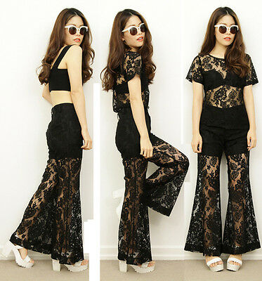Vintage inspired 70s BOHO Hippy Black Lace Sheer Bell Bottom Pants Outfit Set 8