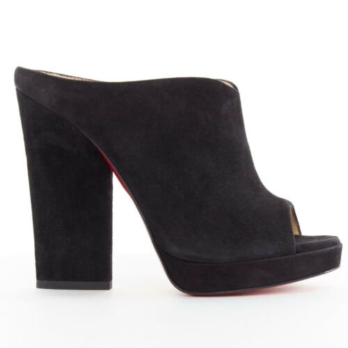 Scamosciata Nera Chunky 120 Eu37 Christian Pelle Roche Nuovo Mule In Louboutin Heels Open Toe HqSxwH804
