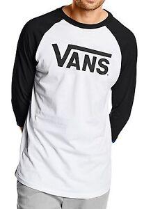 VANS-New-Mens-Classic-Logo-Long-Sleeve-Raglan-T-Shirt-Print-Top-Tee-Black-White