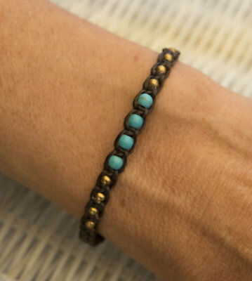Bracelet surfeur amitie fil noir coton ciré perles bleu turquoise 1125 D5