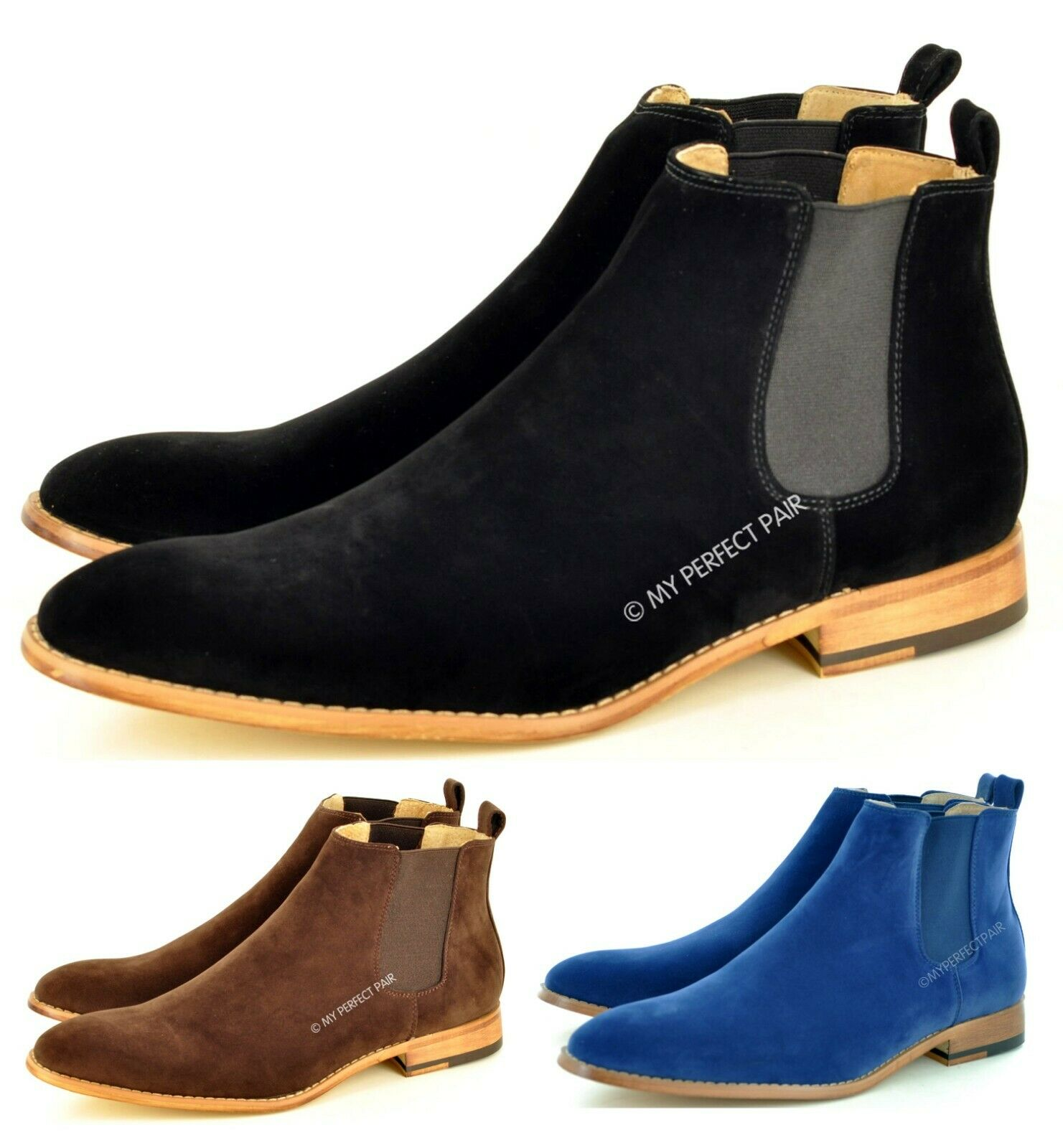 New Mens Chelsea Ankle Pointed Toe Boots Faux Suede Leather Lined UK Sizes 7-12