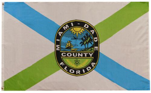 Miami Dade County Florida Woven Poly Nylon 3x5 3/'x5/' Flag Banner Grommets