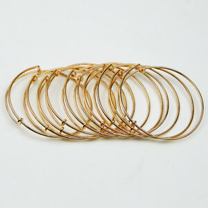 Image Is Loading Bulk Lot 10pcs Expandable Gold Bangle Bracelet Wire