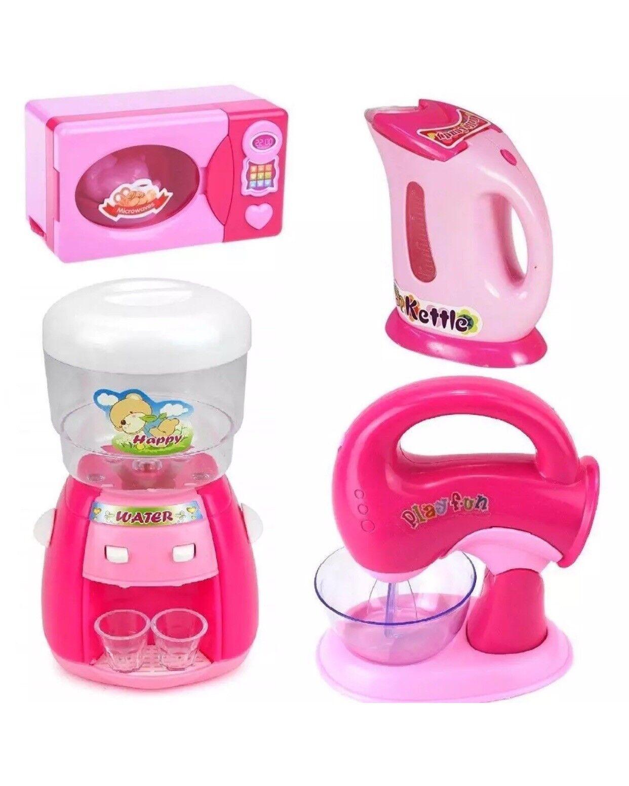 Kids Kitchen Appliances Set Battery Operated Sounds Girls Pretend Play Set