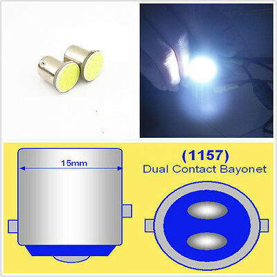 2 x 1157 BAY15D White 12 Chips COB LED DC 12V Tail Turn Signal Lights Bulb Lamps