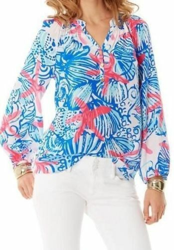 New Lilly Pulitzer Elsa Top Resort Weiß She She Shells Top Starfish S small