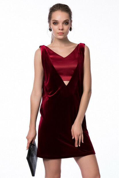 VERSACE 1969 stordimento Borgogna velluto raso elegante elegante elegante party abito taglia IT 40 facaff