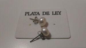 2-Pendientes-de-Perla-bola-Plata-de-1-Ley-925-bolas-de-7-mm